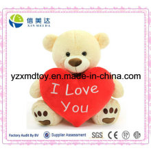 Plush Valentine′s Day Bear with Red Heart
