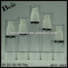 20/25/30/40 / 50ml ventile la botella cosmética, botella cosmética sin aire de la forma redonda recta, botella cosmética airless de san