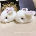 White Small Cute Mink Fur Rabbit Keychain Fur Bag Charm
