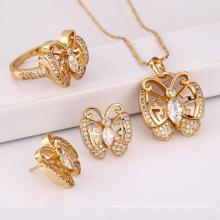 Mode élégant CZ cristal animaux papillon ensemble de bijoux pour le meilleur cadeau des femmes --61656