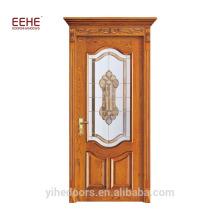 Stylish Wood Glass Balcony Indoor Wood Door Design Customized