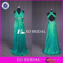 2017 ED Bridal New Fashion Custom Made Halter Neck Crisscross Back Green Taffeta Long Prom Dresses With Beaded Sash