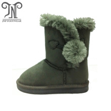 Girl's Flat Pom Pom Winter Warm Snow Boots