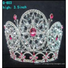 Venda por atacado 2016 jóia de strass quente tiara grande coroa de concurso