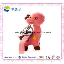 Brinquedo cor-de-rosa bonito da peluche do girafa chaveiro