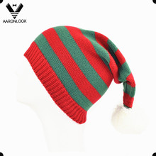 Acrylic Stripe Knitted Cute Long Christmas Hat with Top Ball