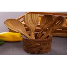Pot à ustensiles / support en bois d'olivier