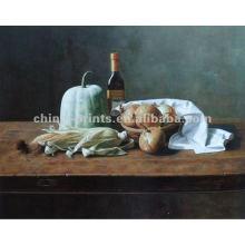 Fresco, vegetal, modernos, óleo, quadro, jantar, sala