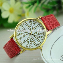 Lady gift hot sale pu leather analog digital wrist watch