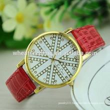 Lady gift hot sale pu leather analog digital wrist watch