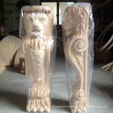 lion Wood Material corbel and Carved Technique wooden corbels handmade carvings lion column