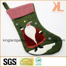 Qualité Broderie / Applique Décoration de Noël Felt Tartan Santa Style Stocking