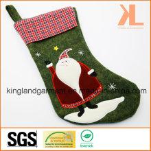 Качественная вышивка / аппликация Новогоднее украшение Felt Tartan Santa Style Stocking