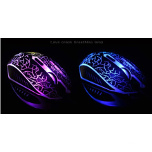 Novo USB 2.0 Wired Gaming Mouse, 7 cores Dazzle Light Gaming Mouse Com Fio Luz LED