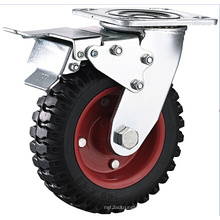 Heavy Duty 8 Inch Swivel Caster, Iron Hub and Rubber Tread Caster