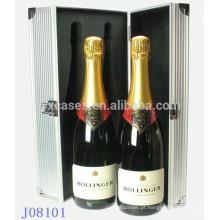 vendas quentes 2 garrafas de vinho de alumínio caso fábrica