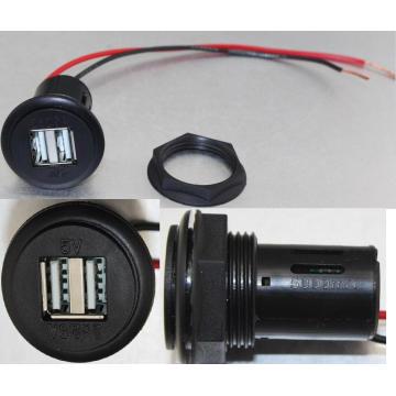 12V DC 4.6A Dual USB Car Charger Socket/Jack