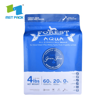 Square Bottom Compostable Plastic PLA Pet Food Bag dengan Ziplock on Top