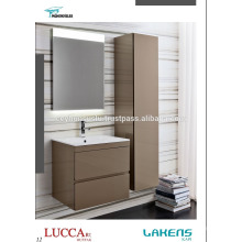 Gabinete de banheiro de luxo castanho claro lacado com canibet de panquecas