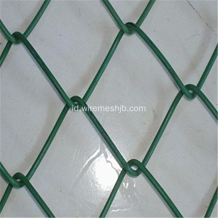 Green PVC Dilapisi Chain Link Fence / Diamond Wire Mesh
