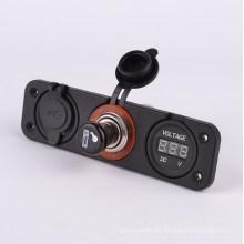 Adaptador y voltímetro del encendedor de cigarrillos del cargador USB del coche