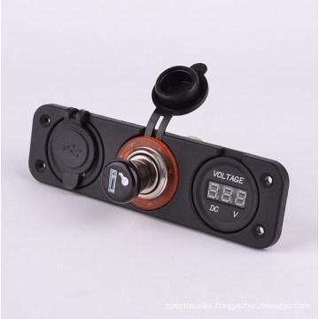 Car USB Charger Cigarette Lighter Socket Adapter and Voltmeter