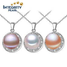 AAA Semi Round 9-10mm Simple Freshwater Pearl Pendant