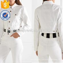 Coton Blanc À Manches Longues Zip-Embroché Cropped Spring Jacket Fabrication En Gros Mode Femmes Vêtements (TA0001J)