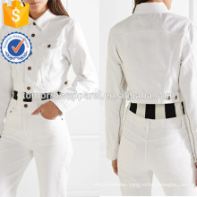 White Cotton Long Sleeve Zip-Embellished Cropped Spring Jacket Manufacture Wholesale Fashion Women Apparel (TA0001J)
