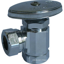 Chromed Brass Angle Stop Valve with Slip Joint Outlet Stops & Iron Pipe Inlet (J05)