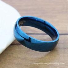 Ladies design blue titanium ring,female ring jewelry