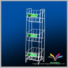 3 tiers white flooring sturdy metal storage display rack for book