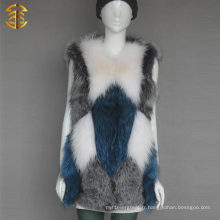 Factory Wholesale Custom Colorized Rabbit Fox Fur Vest
