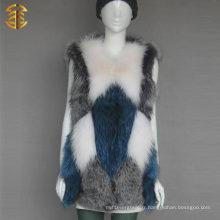 Factory Wholesale Custom Colorized Rabbit Fox Fur Vest