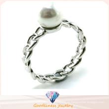 Anillo de plata caliente de la perla de la venta 925 de la joyería de la manera de la mujer (R10389)