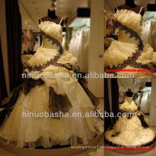 Q-6249 Prom Vestido Organza Party Vestido Comprimento do Pavimento Aleatório Saia Vestido de Noiva