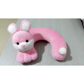 Upright ears pink rabbit u-shaped pillow