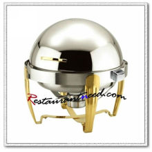 C081 Stainless Steel Round Roll Top Chafing Dish Set / Chafing Fuel