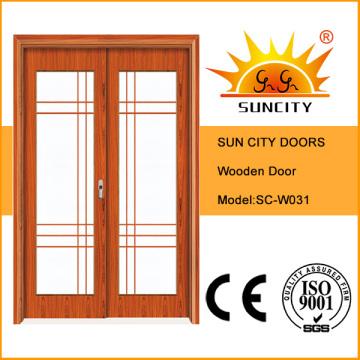 Хороший дизайн Качество двойной створки раздвижные стеклянные деревянная дверь (СК-W031)