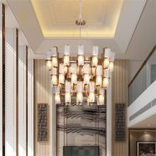 Elegante Villa Chandleier com Abajur em Aço Inoxidável