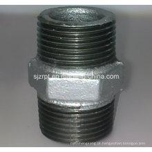 Conexão de tubo de ferro maleável galvanizado Hexagon Equal Nipple