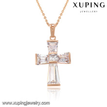 32761-xuping fashion rose gold plated diamond clip on necklace pendants