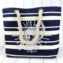 Striping Private Label 2021 Creative Designer Luxury Large Tote Summer Women Custom Canvas Beach Bag with Zipper, Women Tote Bag