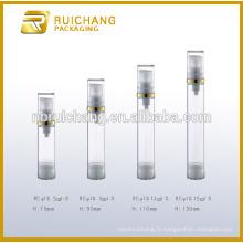 5ml / 8ml / 12ml / 15ml petite bouteille sans air, bouteille de pompe sans air en plastique, bouteille sans cosmétiques sans air