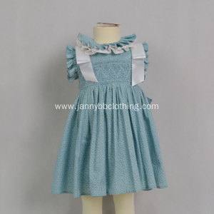 baby smocked ruffle blue floral girls dress