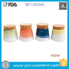 Kleine Keramik Teedose 4er Keramik Glas