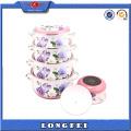 Exquisite Flower Decal 5PCS Turkey Enamel Pot