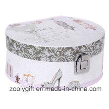 Semicircle cosméticos impressão papel caixa de presente com espelho e trava