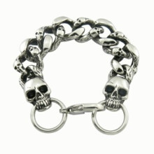 Link Length Fashion 316L Skull Men′s Stainless Steel Bracelet