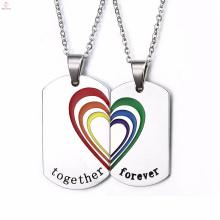Trendy Schwarz und Silber Herz Homosexuell Anhänger Halskette, Regenbogen Edelstahl Homosexuell Anhänger Halskette